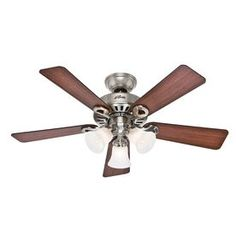 Hunter 44-in Ridgefield Five Minute Brushed Nickel Ceiling Fan with Light Kit - living room