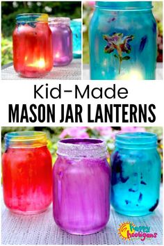 Mason Jar Lanterns for kids to make with white glue and food colouring. These colourful lanterns make a lovely homemade ornament for your backyard or a great gift for kids to make for parents, grandparents and teachers. Old Wine Bottles, Wine Bottle Crafts, Mason Jar Crafts, Mason Jar Diy, Mason Jar Lanterns, Mason Jar Lighting, All You Need Is, Diy Hanging Shelves, How To Make Lanterns