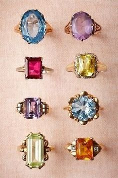 I don't even need a diamond, any of these gems would do just fine. (vintage cocktail rings from Weddings Weddings) Jewelry Box, Jewelry Accessories, Fashion Accessories, Fashion Jewelry, Jewelry Rings, Jewellery, Fashion Rings, Bridal Jewelry, Vintage Accessories