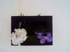 TABLEAU HORTENSIA FOUGERE MOUSSE fleur naturelle stabilisée ORCHIDEES VANDA artificielles