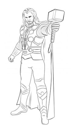 coloring pages of thor print color craft activities for kids and adults thor coloring of pages Detailed Coloring Pages, Cute Coloring Pages, Disney Coloring Pages, Free Printable Coloring Pages, Adult Coloring Pages, Coloring Books, Avengers Coloring Pages, Superhero Coloring Pages, Spiderman Coloring