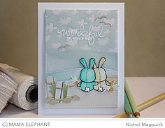 """Mama Elephant—""""beach-themed.""""  Honey Bunny stamp set—Prismacolor Colored Pencils were used and blended with Gamsol. The stamped and embossed greeting is from Everyday Greetings, with embossed """"seagulls"""" from the Sunny Skies Stamp Set."""