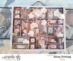 This is a stunning altered printer's tray by the amazing Rhea! What a beautiful altered piece #Graphic45