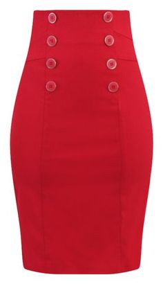 High Waisted Pin Me Up Pencil Skirt in Red - High Waisted Pin Me Up Pencil Skirt in Red