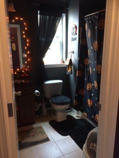 black and orange spooky Gothic Halloween bathroom