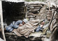 WWI, July Two soldiers sleep in La Harazee, in the north of France, close to the French border with Luxembourg. The shots were brought to life by graphic artist Frederic Duriez who has added colour to the stark images of the French troops Ww1 Soldiers, Wwi, Life Is Like, What Is Life About, World War One, First World, German Submarines, Colorized Photos, Man Of War