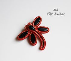 "brooch ""Red Dragonfly""  soutache, glass beads, beads"