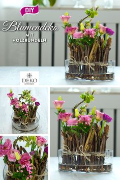 DIY: frühlingshafte Blumendeko mit kleinen Holzbündeln You can implement this pretty flower decoration quickly and cheaply! All you need are twigs, cut flowers, wire and a cord. You can place the bund Diy Crafts Easy To Make, Container Gardening Vegetables, Succulent Containers, Container Flowers, Container Plants, Vegetable Gardening, Garden In The Woods, Deco Table, Succulents Diy