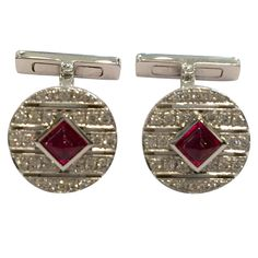 Cartier Cabochon Ruby Diamond Gold Cufflinks | From a unique collection of vintage cufflinks at https://www.1stdibs.com/jewelry/cufflinks/cufflinks/.......