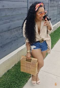 Hf wig for night wit baby n hair aint rite.Oversized shirt with distressed denim shorts Cute Casual Outfits, Stylish Outfits, Girl Outfits, Fashion Outfits, Black Girl Fashion, Fashion Looks, Dope Fashion, Fashion 2020, Spring Summer Fashion