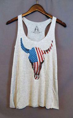 COWGIRL gYPSY American FLAG SKULL Longhorn Steer Tank Top Shirt Western SMALL #BEARDANCE #TANK