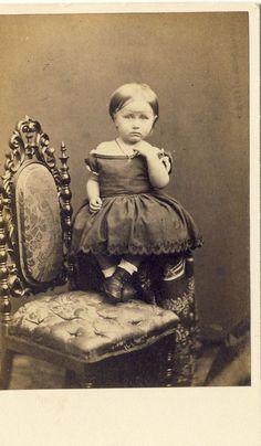 1860s Antique Civil War Decade CDV Carte de Visite Photo Little Girl Hoop Dress