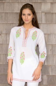 Bouquet Voile - Cotton Hand Block Printed Tunic - Tunics - Tops