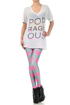 POPRAGEOUS Pink Hearts Legz