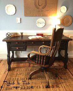 female executive office furniture. executive desk \u0026 antique oak library chair from 1920\u0027s. painted in @heirloompaint black bean female office furniture