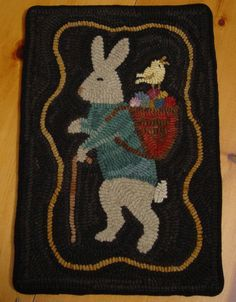 14in wide x 20.5in long. FAB!!!!!! Primitive Hand Hooked Rug Rabbit and Peep Easter Bunny Wool Rug Hooking    #NaivePrimitive