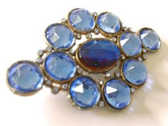 C is for Czech! S is for Stunning!  Massive Czech Blue Rhinestone Vintage Brooch by CrimsonVintique, $95.00