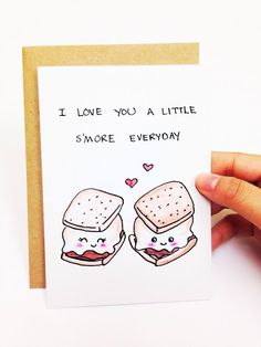 I love you a little smore everyday. ♥ Design is hand drawn by yours truly using good ol pencil crayons, then scanned and printed on high quality cardstock (chlorine and acid free). ♥ Card is blank inside for your own sentiments ♥ 4.1 (10.5 cm) x 5.8 (14.8 cm) in size (A6) ♥ Comes with a 100% recycled white envelope  Shipping: ♥ Comes in protective cellophane sleeve ♥ Mailed via regular Canada Post. To keep shipping cost low, orders dont include tracking. We also offer:  5 cards for $19 USD…