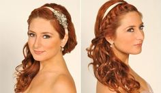 Bridal Hairstyle to the side with headband.