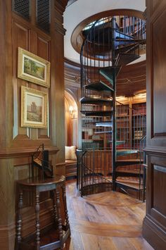 Paneled Mahogany Library, Office and Spiral Stair  Architectural Detail  Home Office  Library  Staircase  American  Architectural Details  Neoclassical  TraditionalNeoclassical  Colonial  GothicTudor  Tudor by Island Architects