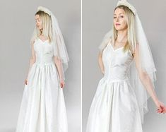 Taffeta wedding gown | Etsy Slip Wedding Dress, 2015 Wedding Dresses, Wedding Dress Styles, Wedding Gowns, Bridal Dresses, Lace Wedding, 1940s Wedding, 1950s Prom Dress, White Bridal