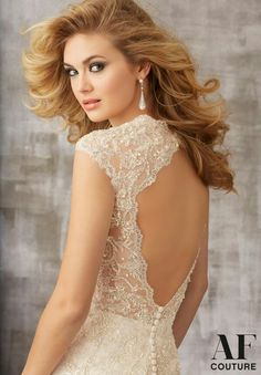 Bridal Gown 1341 Metallic Embroidered Appliques with Beading onto Chantilly Lace with Soft Net Ruffles 2015 Wedding Dresses, Wedding Dress Styles, Bridal Dresses, Most Beautiful Hollywood Actress, Hollywood Divas, Brunette Beauty, Chantilly Lace, Beautiful Gowns, Beautiful Women