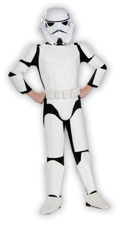 Suit up for battle in this Star Wars Storm Trooper Special Edition Child Costume. Costume includes a jumpsuit with attached white armor, a 2 piece helmet (lightweight plastic), arm armor and attached