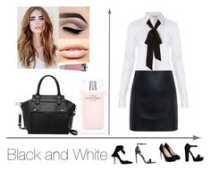 """""""Black And White - Professional Attire -"""" by haileywilkins1 ❤ liked on Polyvore featuring Diane Von Furstenberg, McQ by Alexander McQueen, GUESS, Gianvito Rossi, MDMflow, Burt's Bees, Narciso Rodriguez and Pink Haley"""