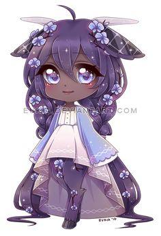 Petite poupée kawaii couleur lavande