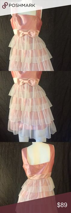 Betsey Johnson Party Dress 💕Vintage💕 PRETTY IN PINK. Previously gently loved. Tiered Pink and Cream Vintage Betsey Johnson dress size 4. Shiny Polyester and Silk. Lace. No tears, stains or strange odors. Classic and fun party dress. Evening wear or date night. Knee length. Women's clothing. Costume. Layers. Ruffles. Wedding guest. Prom has passed but maybe next year? 💕💞 Betsey Johnson Dresses