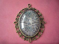 """Black and Brass Sparkle Pendant 2 1/2"""" by 2"""" by ForeverCreateDesigns on Etsy"""