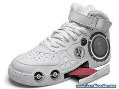 athletic shoe with a CD player and speakers built in