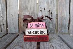 Valentines LOVE  Be Mine Sweetheart Wood Mini Stacker Block Set heart hugs kisses home seasonal personal primitive shabby chic home decor. $10.95, via Etsy.