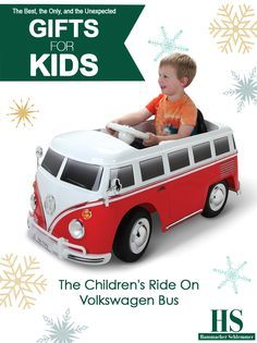 The Children's Ride On Volkswagen Bus - This is the electric ride-on Volkswagen bus that conveys children over driveways and sidewalks in groovy finery at 2 1/2 mph. With the distinctive features of the real-life model—twin decorative windshield wipers, bumper, folding side mirrors, and red/white trim—this ride-on is equipped with working headlights and two opening side doors.