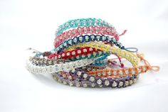 $7 Choose your Color ..  Custom Colorful Clear Shiny Crystal Strass Macrame Braided Friendship Bracelet