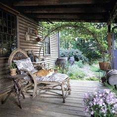 Porches and Patios Decor, Home And Garden, Home, Outdoor Space, Outdoor Rooms, Decks And Porches, Beautiful Homes, Twig Furniture, Rustic Porch