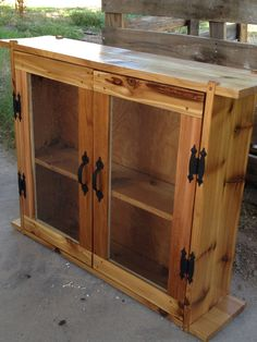 Ordinaire Red Cedar Cabinet With Antique Glass.