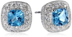 Sterling Silver Genuine Swiss Blue Topaz and Created White Sapphire Cushion Stud Earrings | shopswell