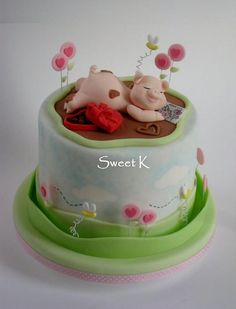 Dreaming of you cake - by Karla (Sweet K) Pretty Cakes, Cute Cakes, Beautiful Cakes, Yummy Cakes, Amazing Cakes, Fondant Cakes, Cupcake Cakes, Piggy Cake, Pig Birthday Cakes