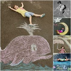Cute idea! Chalk Drawing Photos Giggleberry Creations! To do when the kids are a bit older, and will follow instructions ;-)