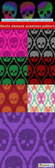 Skulls damask seamless pattern - 8 EPS