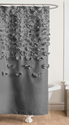 Gray Lucia Shower Curtain - wouldn't yoyos look cool??