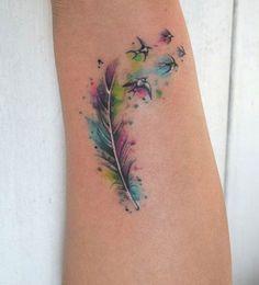 Feather Watercolor Tattoo - MyBodiArt.com