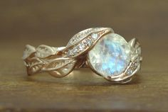 Unique Moonstone Leaves Engagement Ring, Natural Leaves Ring With Moonstone, Rose Gold Moonstone Leaf Ring, Rose Gold Leaves Ring, Rose Gold by Benati on Etsy https://www.etsy.com/listing/496859465/unique-moonstone-leaves-engagement-ring