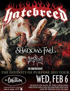 """Hatebreed 6:50pm Wednesday, February 6. Doors at 6pm  w/ Shadows Fall, Dying Fetus & The Contortionist. ADVANCE $19  The New Haven, CT-based Hatebreed got together in 1993 for the purpose of creating a """"back to basics"""" hardcore band with heavy, metallic guitars, screaming vocals, and 30-second songs. Consisting of Jamey Jasta (vocals), Lou """"Boulder"""" Richards (guitar), Chris Beattie (bass), Sean Martin (guitar), and Rigg Ross (drums), Hatebreed had the chance to play throughout the East Coast"""