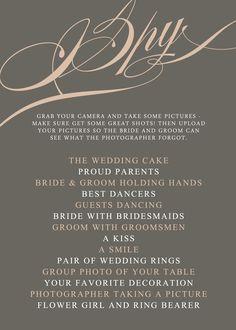 I Spy wedding game from http://replybydesignstudio.etsy.com