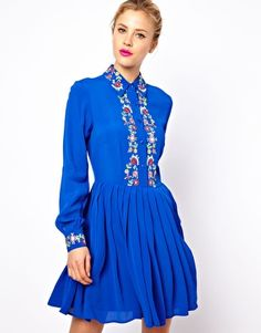 Enlarge ASOS Shirt Dress With Floral Embroidery for $108