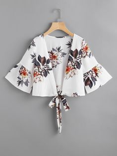 SheIn offers Random Florals Bell Sleeve Tie Front Top & more to fit your fashionable needs. Fashion Wear, Hijab Fashion, Girl Fashion, Fashion Dresses, Womens Fashion, Blouse Styles, Blouse Designs, Summer Outfits, Cute Outfits