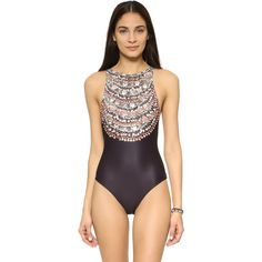 Mara Hoffman High Neck Low Back Swimsuit ($215) ❤ liked on Polyvore featuring swimwear, one-piece swimsuits, necklaces, swimsuit swimwear, mara hoffman swimsuit, high neck swimsuit, 1 piece bathing suits and swim suits