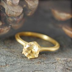Gold Citrine Solitaire November Birthstone Ring